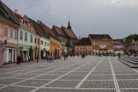 brasov: Brasov, Transylvania, Romania- April 29, 2015: Brasov Council Square is historical center of city with Black Church on background.