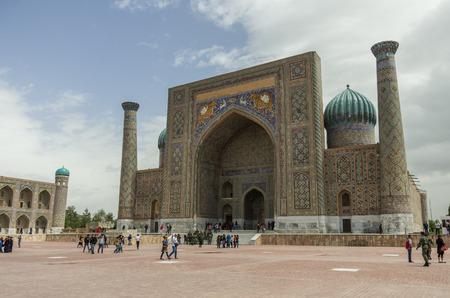 registan: View of Sher-Dor Madrasa from Registan Square, Samarkand, Uzbekistan. Stock Photo