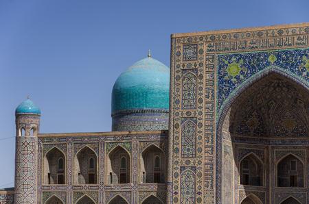 registan: Details of facade mosaic of Madrasah Tilla-Kari on Registan square, Samarkand, Uzbekistan
