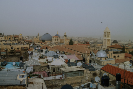 sepulchre: Jerusalem panoramic roof view in time of sand storm. Israil