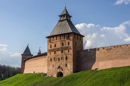 spasskaya: Spasskaya Tower and walls of Kremlin. Veliky Novgorod, Russia
