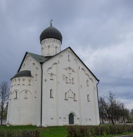 novgorod: Old Russian Orthodox church of the Transfiguration on Ilyina and Znamensky Cathedral. Veliky Novgorod, Russia