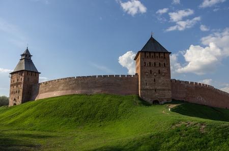 spasskaya: Walls, Palace and Spasskaya tower of Kremlin. Veliky Novgorod, Russia Editorial