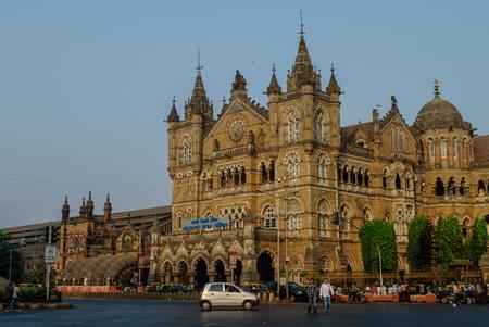 terminus: Mumbai, India - January 1, 2012: Chhatrapati Shivaji Terminus (CST) is a UNESCO World Heritage Site and an historic railway station in Mumbai, India Editorial