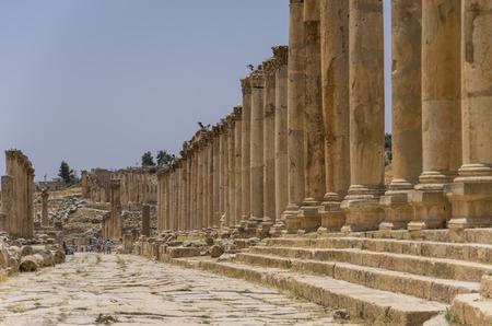 antiquity: Columns of the cardo maximus, Ancient Roman city of Gerasa of Antiquity , modern Jerash, Jordan Stock Photo