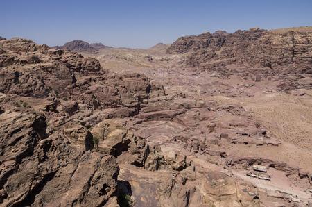 petra  jordan: Birds Eye panoramic view  Petra, Jordan Stock Photo