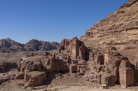 petra  jordan: View of Royal Tomb , Petra, Jordan. Stock Photo