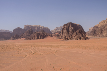 moon  desert: View of Nature, desert and rocks of Wadi Rum (Valley of the Moon) from sand dune, Jordan. UNESCO World Heritage. Stock Photo