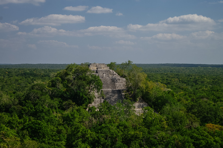 calakmul: The pyramid structure of 1 in the complex rises over the jungle of Calakmul, Mexico Stock Photo