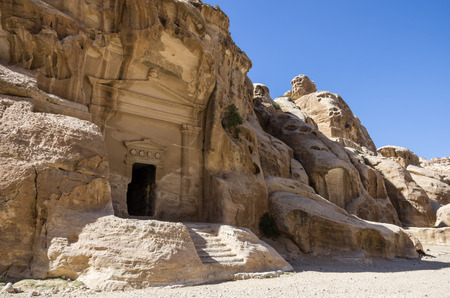 siq: Cave tomb in Nabataean city of the Siq al-Barid in Jordan. It is known as the Little Petra