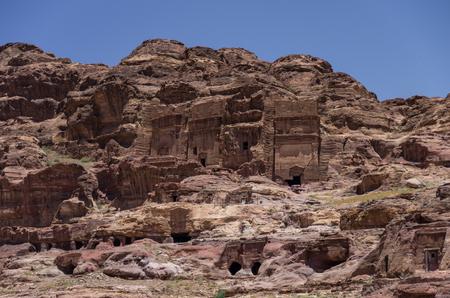 Muaisireh Tombs. The cave tombs  in Petra, Jordan