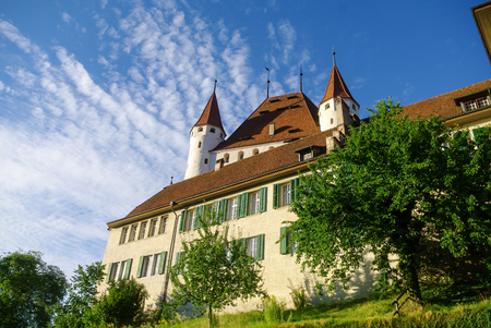View of Thun medieval castle in the Thun city, in Swiss canton of Bern, where the Aare river flows out of Lake Thun. Switzerland