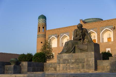 Khiva, Uzbekistan - 1 May 2015: The monument to the ancient scientist - mathematician, astronomer and geographer Muhammad ibn Musa al-Khwarizmi, Khiva,Uzbekistan Editorial