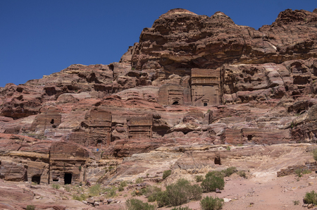 nabatean: Cave tombs in Jebel Madbah mountain. Petra, Jordan