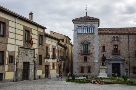 Madrid, Spain - MARCH 4, 2010: Plaza de La Villa with unidentified people in the old town of Madrid is probably the oldest civil square dating back to 15th century.