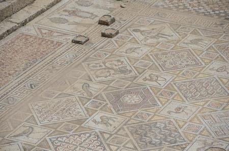 mosaic floor: Mosaic floor in Ruins of Byzantine Church in Jerash, Jordan