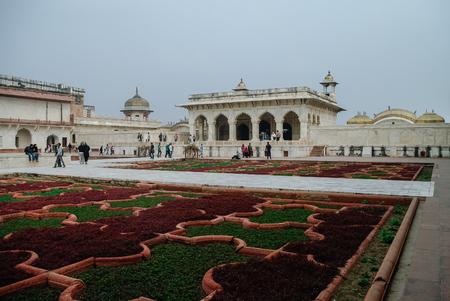 uttar: Agra, India - January 8, 2012: Anguri bagh and Khas Mahal in Red Agra Fort. Agra, Uttar Pradesh, India