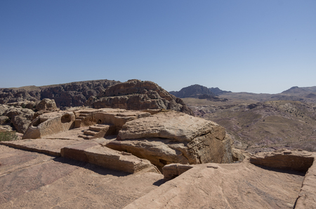 nabatean: Nabatean altar at HighPlace of Sacrifice in Petra, Jordan