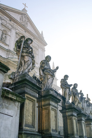 saints peter and paul: Sculptures of saints. Architectural details of the Church of the Apostles St. Peter and Paul in old town in Krakow, Poland.