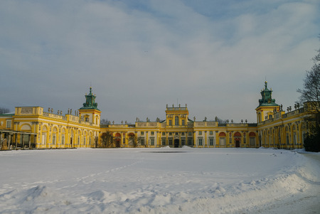 Warsaw, Poland - January 5, 2011: Winter view of Museum of King Jan IIIs Palace in snow. Wilanow.