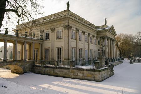lazienki: Lazienki Krolewskie, Poland - January 5, 2011: The Lazienki palace in Lazienki Park. Winter landscape with snow. Warsaw.