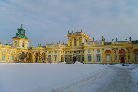 Warsaw, Poland - January 5, 2011: Winter view of Museum of King Jan IIIs Palace in snow. Wilanow. Warsaw, Poland Editorial