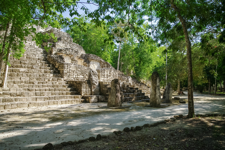 Steps of the pyramid stairs. Structure of 1  in the complex rises over the jungle of Calakmul, Mexico