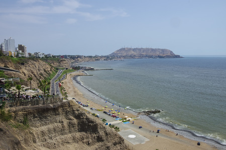 miraflores district: Beautiful view of Lima coastline from Larcomar in Miraflores district, Lima, Peru