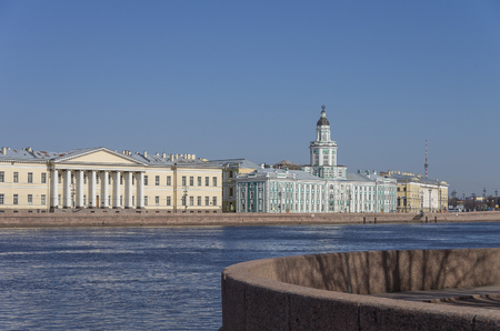 neva: View to Neva river embankment and Kunstkamera museum, Sankt-Peterburg, Russia