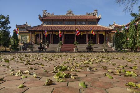 hue: Hue,Vietnam- January  5, 2015: Gates of Tu Dam pagoda in Hue town