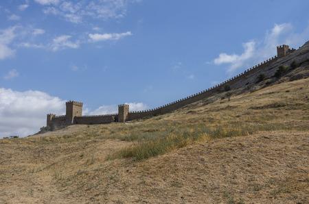 genoese: Ancient Genoese fortress in Sudak town. Crimea, Russia. Ukraine Stock Photo