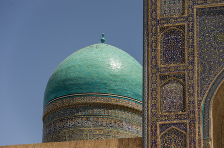 registan: traditional ornament in the wall of madrasahs in Samarqand, Uzbekistan