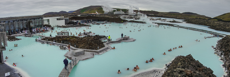 blue lagoon: BLUE LAGOON, ICELAND - 23 august 2014: People bathing in The Blue Lagoon, a geothermal bath resort in the south of Iceland, a must see by tourists. Panorama