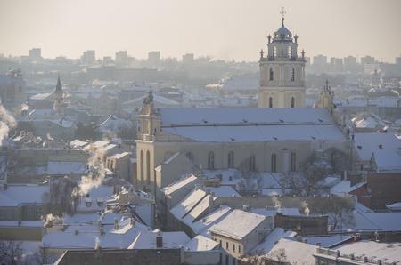 castle district: Vilnius winter panorama from Gediminas castle tower. Vilnius. Lithuania