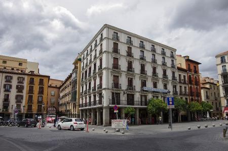 Madrid, Spain -March 4, 2010: Cityscape in Santa Cruz square in historic part of Madrid Editorial