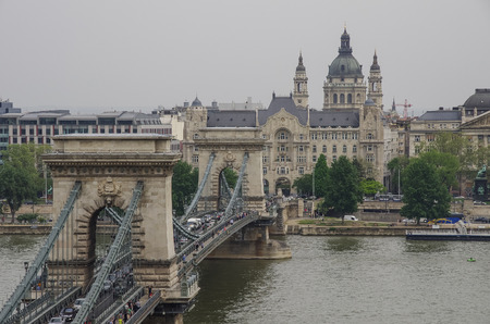 szechenyi: Old Town of Budapest, Hungary. Famous spectacular The Szechenyi Chain Bridge and River Danube view Stock Photo