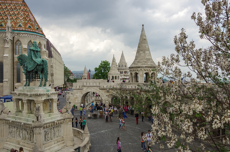 Budapest, Hungary - May 19, 2010: Tourist in Fisherman Bastion, on the main attraction of Budapest