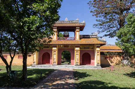 hue: Gate with the drum Inside the citadel. Imperial Forbidden City. Hue, Vietnam. Editorial