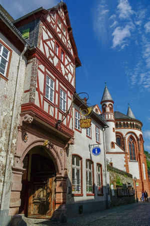 fachwerk: Bacharach, Germany - July 9, 2011: Medieval village Bacharach. Traditional frameworks (Fachwerk) houses in city streets. Rhine valley, Germany.