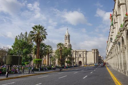 Arequipa, Peru - January 2, 2014:  Plaza de Armas square with Basilica Cathedral of Arequipa, Arequipa city, Peru Editorial