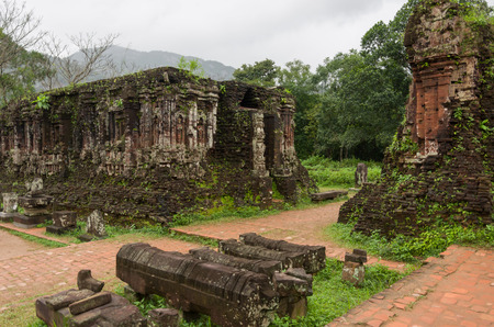 Remains of Hindu tower-temples at My Son Sanctuary, a UNESCO World Heritage site in Vietnam Stock Photo
