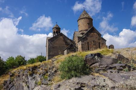 Medieval armenian monastery Saghmosavank, located near Kassakh River. Ashtarak district, Armenia