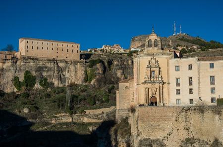 privileged: Parador de Cuenca. Saint Paul monastery in the outskirts of Cuenca, in Spain, XVI century, on a privileged and defensive cliff. Stock Photo