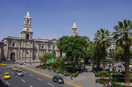 Plaza de Armas square with Basilica Cathedral of Arequipa, Arequipa city, Peru