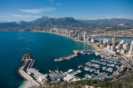 View over Calpe (Calp) town, Spain. Shot from the Penon  ( Ifach) rock, overlooking the coast, the harbor, lake and the city Banco de Imagens