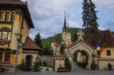 Brasov, Transylvania, Romania- April 29, 2015:  Beautiful Traditional St. Nicholas Christian Church, medieval and old architecture of Brasov, Romania Editorial