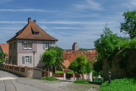 Street view of Dinkelsbuhl, one of the archetypal medieval towns on the German Romantic Road. Germany