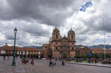 Catedral Iglesia de la Compania de Jesus en Plaza de Armas in Cusco old city, Peru
