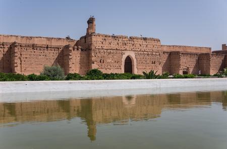 incomparable: Walls reflection in pool of El Badi Palace or Palais El Badii in Marrakech, Morocco