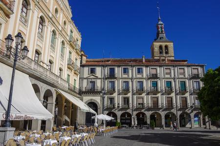 Segovia, Spain - March 5, 2010: Plaza de Armas (central square) in old town of medieval historic city Segovia, Castilla y Leon, Spain